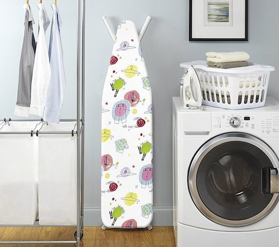 a portable ironing board allows you to iron in a bedroom where you can easily sort clothes or near the washer and dryer when clothes are still warm