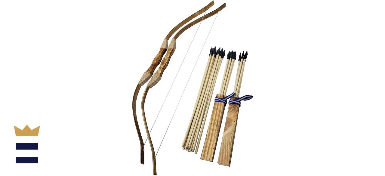 Adventure Awaits! 2-Pack Handmade Wooden Bow and Arrow Set