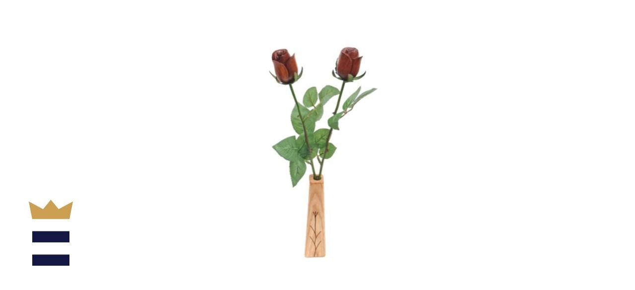 2-Stem Natural Wood Roses with Vase