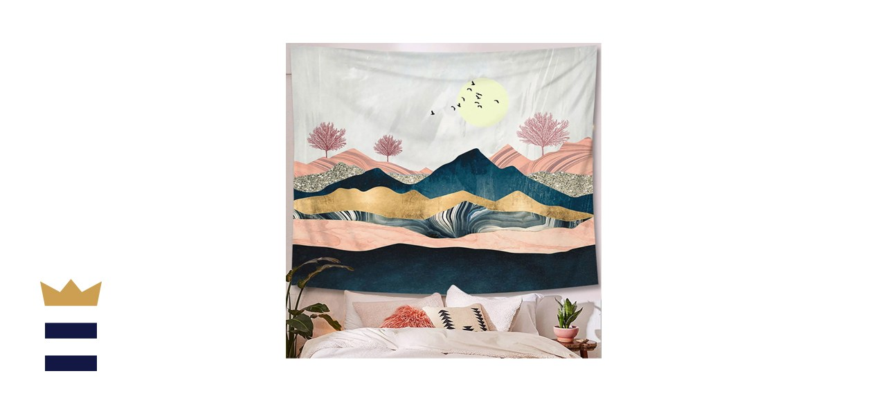 abstract sunset mountain tapestry