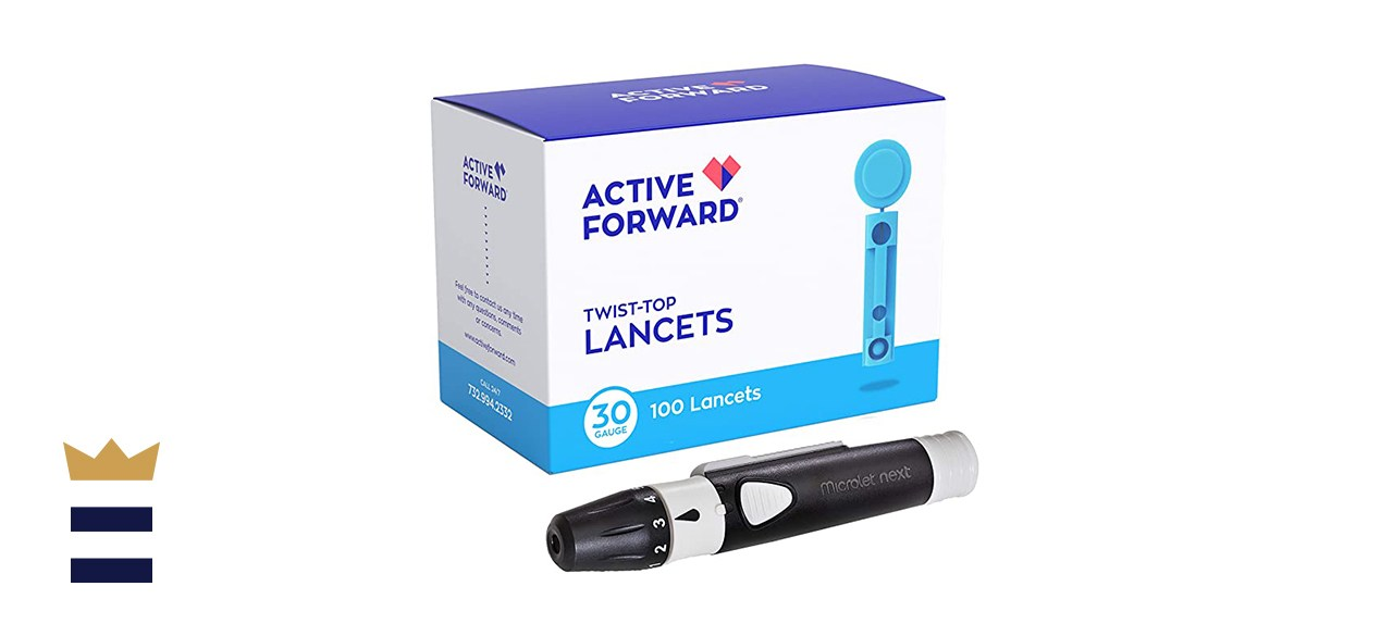 Active Forward Microlet Lancing Device with 100 Active Forward 30-Gauge Lancets