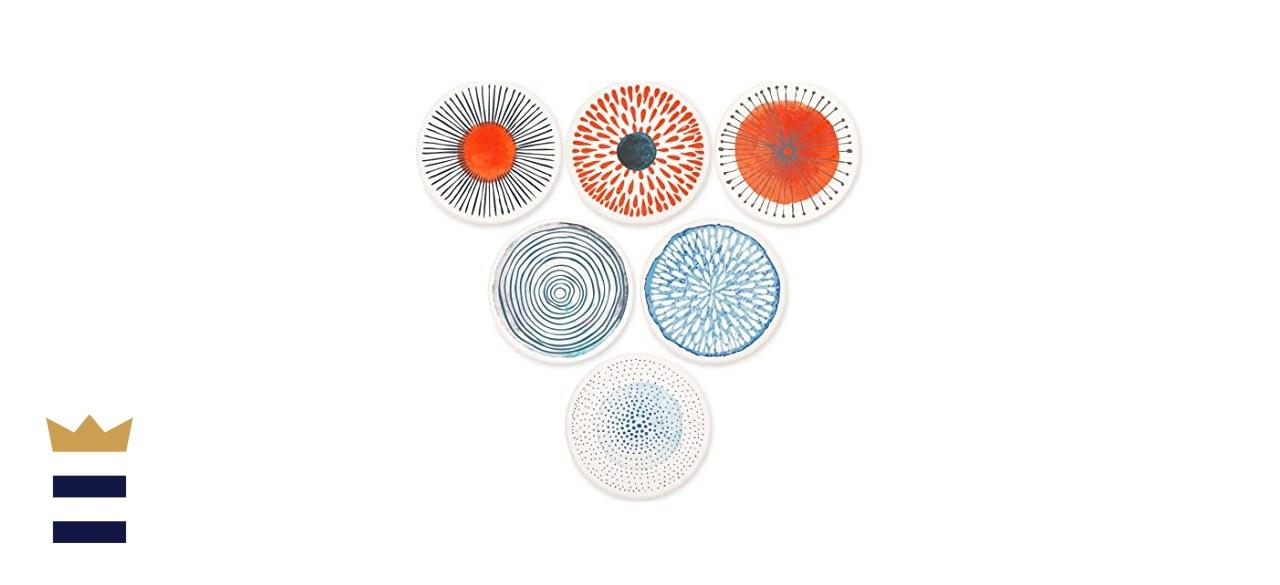 AD Set of 6 Painted Ceramic Coasters