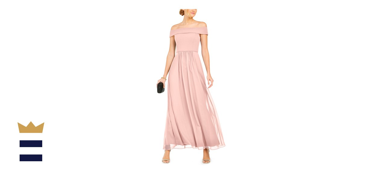 Adrianna Papell Off-the-Shoulder Chiffon Gown