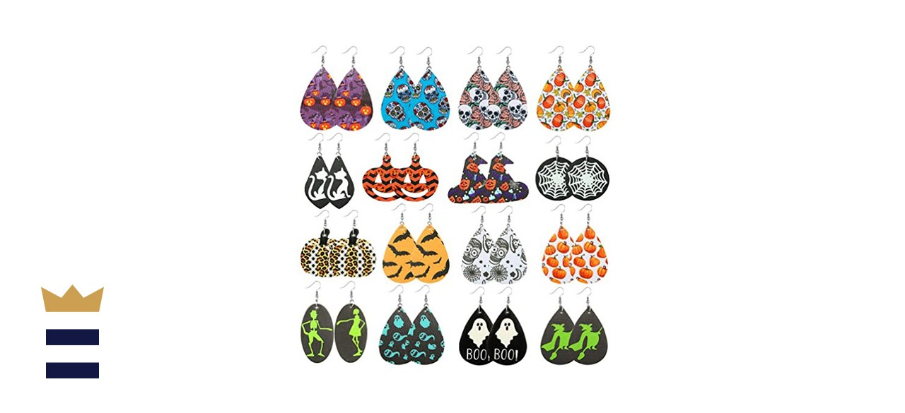 AIDSOTOU Pairs Faux Leather Earrings Set