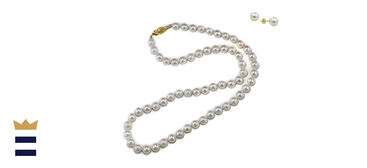Akwaya 14 Carat Yellow Gold White Akoya Cultured Pearl High Luster Necklace 18 Inches
