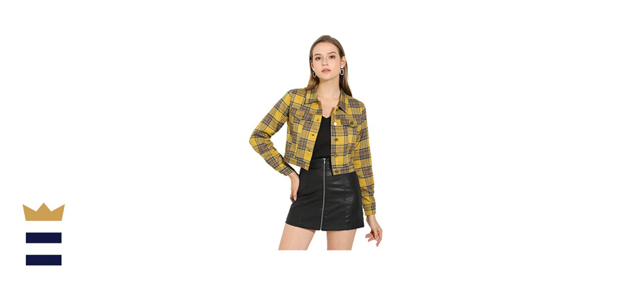 Allegra K Cropped Plaid Jacket