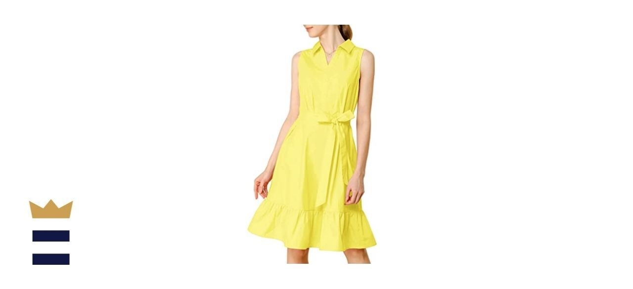 Allegra K Women's Cotton Casual Ruffled Shirt Dress with Belt