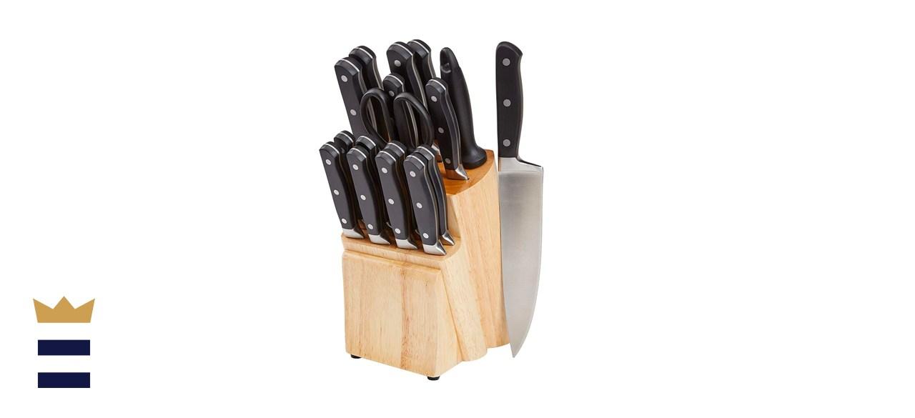 Amazon Basics 18-Piece Kitchen Knife Block Set