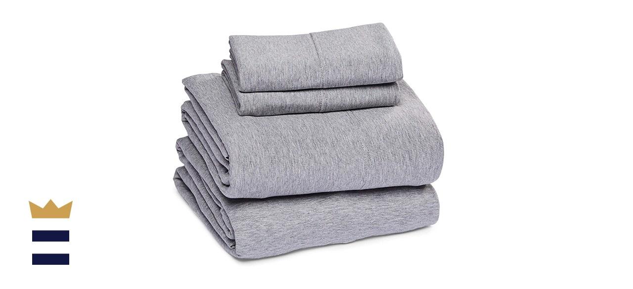 Amazon Basics Heather Cotton Jersey Sheet Set