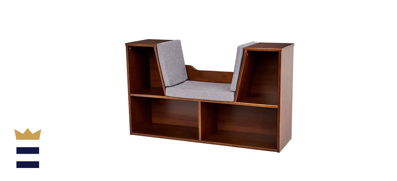 Amazon Basics Kids Bookcase with Reading Nook and Storage Shelves