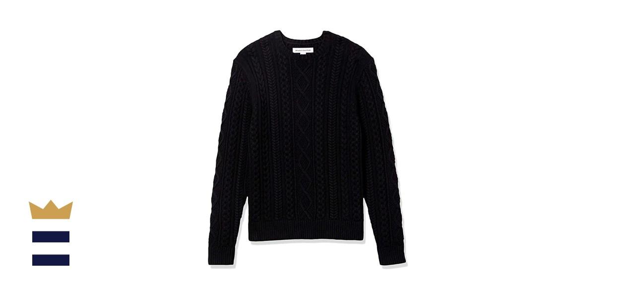 Amazon Essentials Men's Long-Sleeve Fisherman Cable Crewneck Sweater