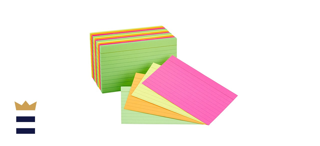 AmazonBasics 3 x 5-Inch Ruled Neon Index Flash Cards, 300-Count