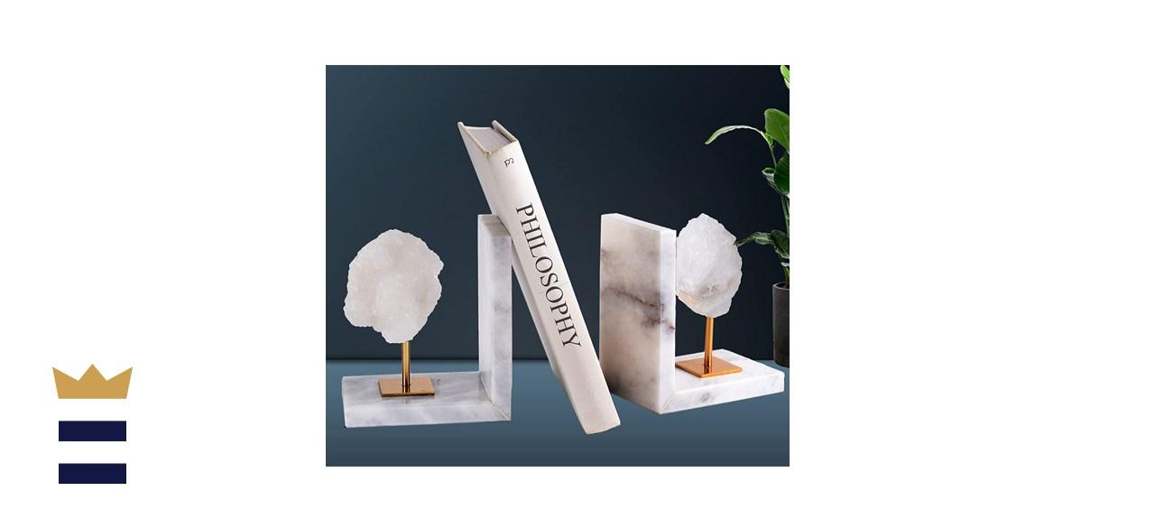 AMOYSTONE Decorative White Agate Bookends