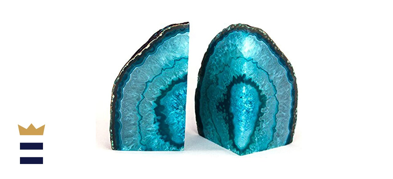 AMOYSTONE Teal Agate Bookends