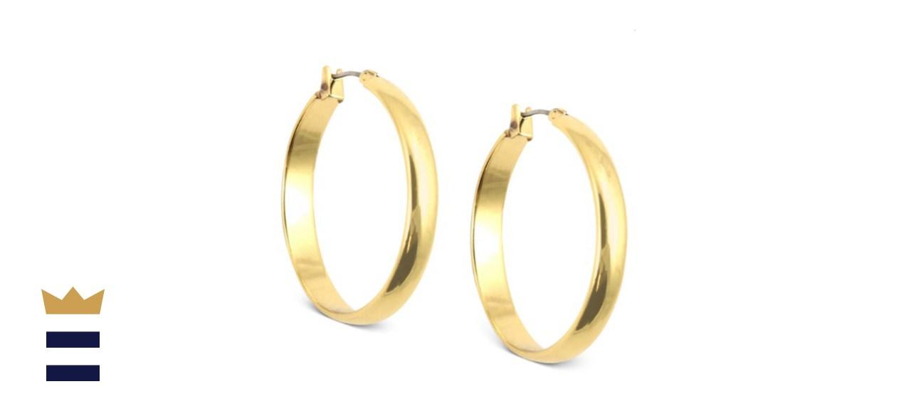 Anne Klein 1.25-Inch Click-It Hoop Earrings