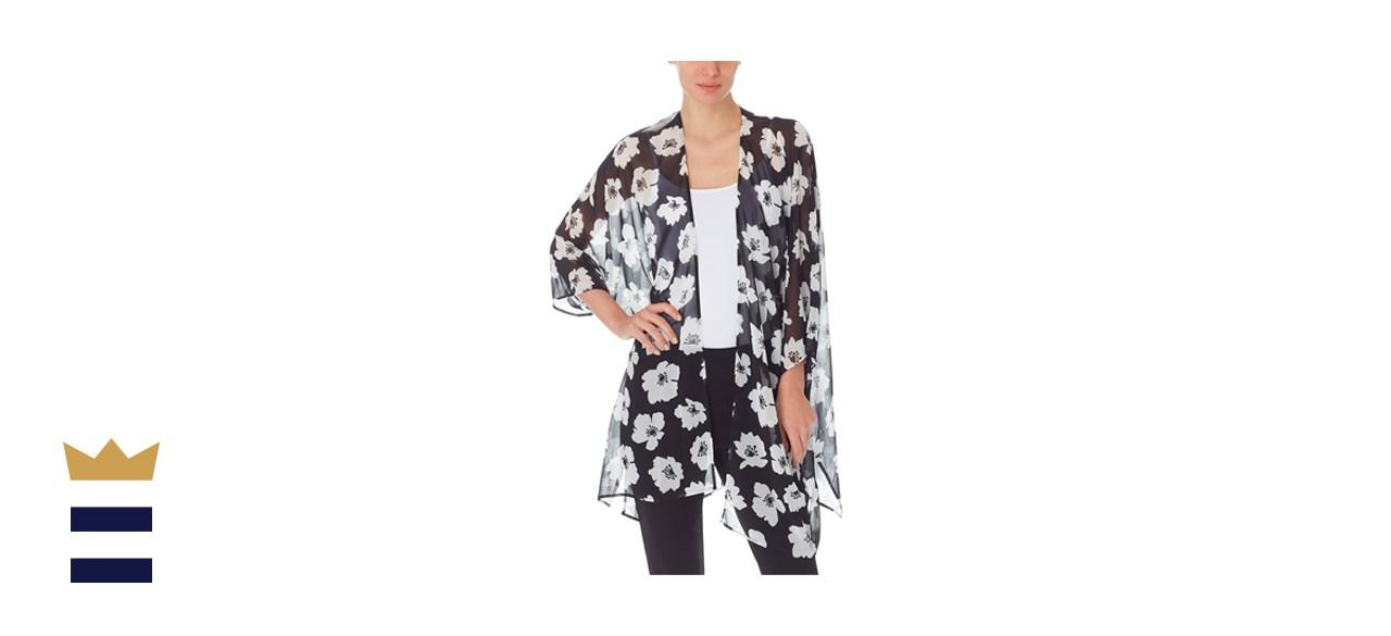 Anne Klein Printed Sheer Kimono