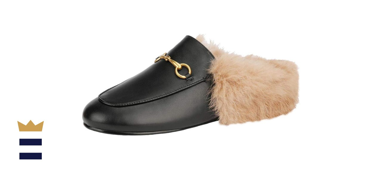 Arqa Mules for Women Women's Leather Slip-On Fur Mule Backless Low Heel Loafers Slide Slippers