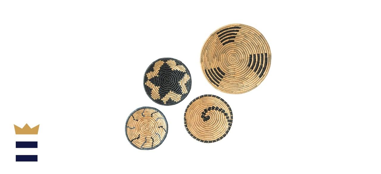Artera Wicker Hanging Natural Woven Seagrass Flat Baskets