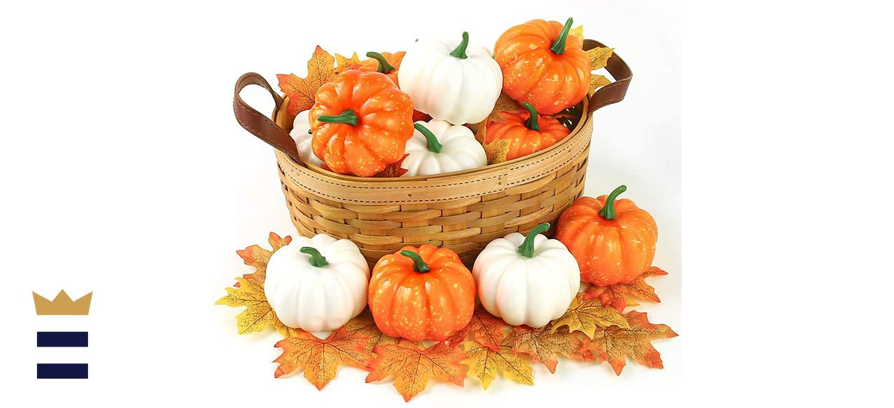 Artificial Pumpkins with Lifelike Maple Leaves