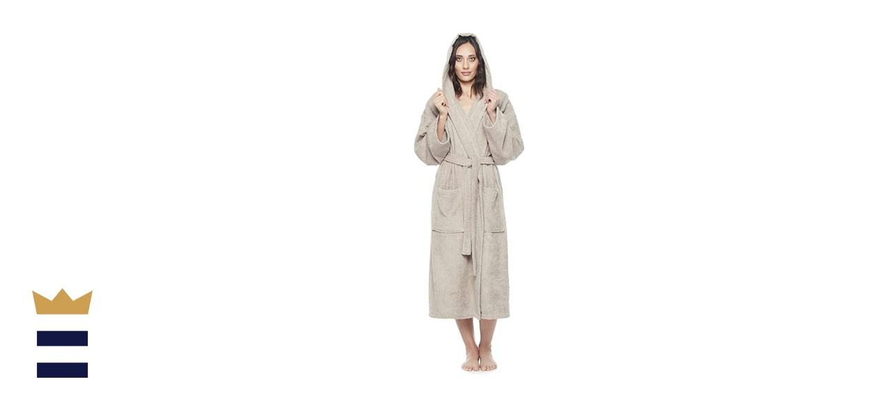 Arus Women's Hooded Classic Bathrobe Turkish Cotton Robe