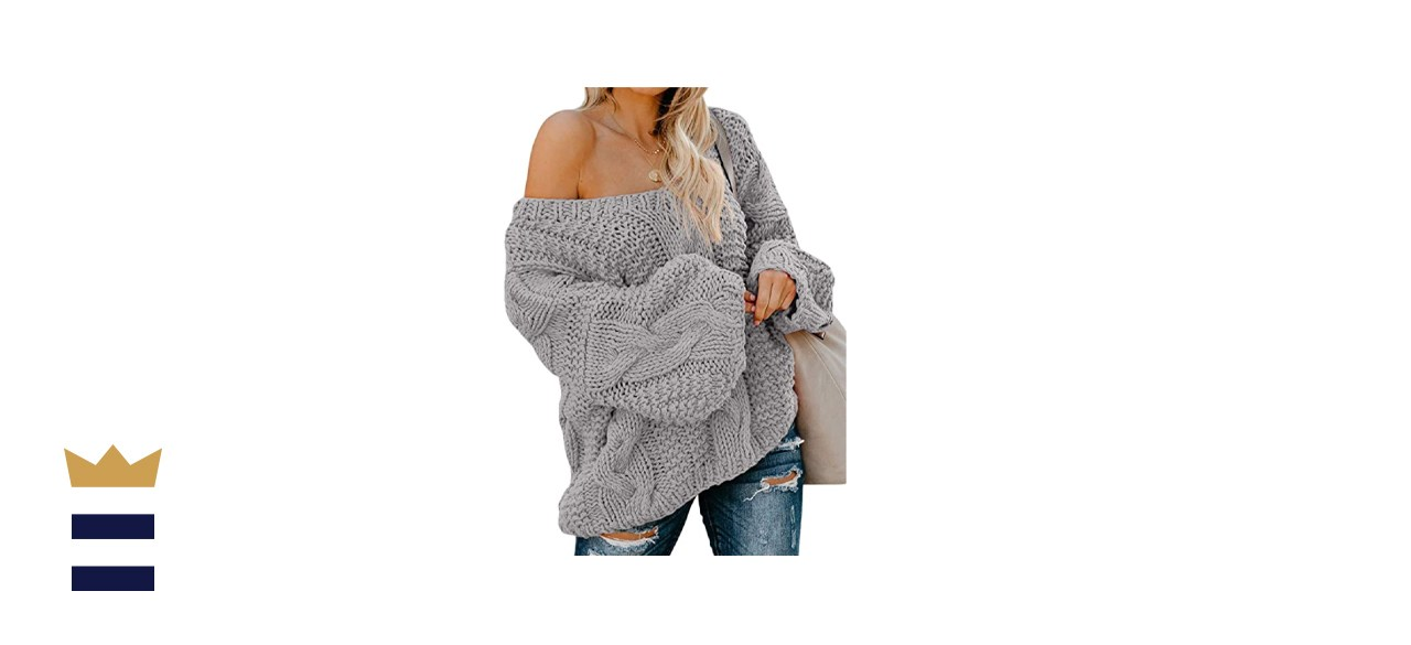 Astylish Women's Sexy Long Sleeve Off Shoulder Cable Knit Sweater