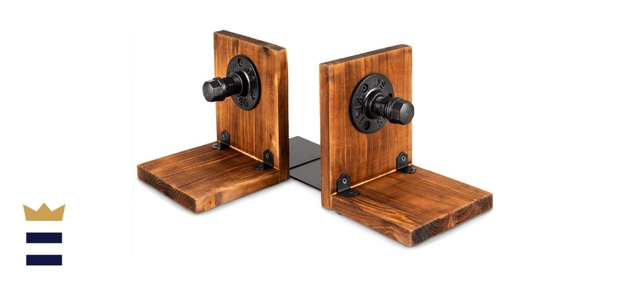 ATPIEN Rustic Wooden Bookends for Heavy Books