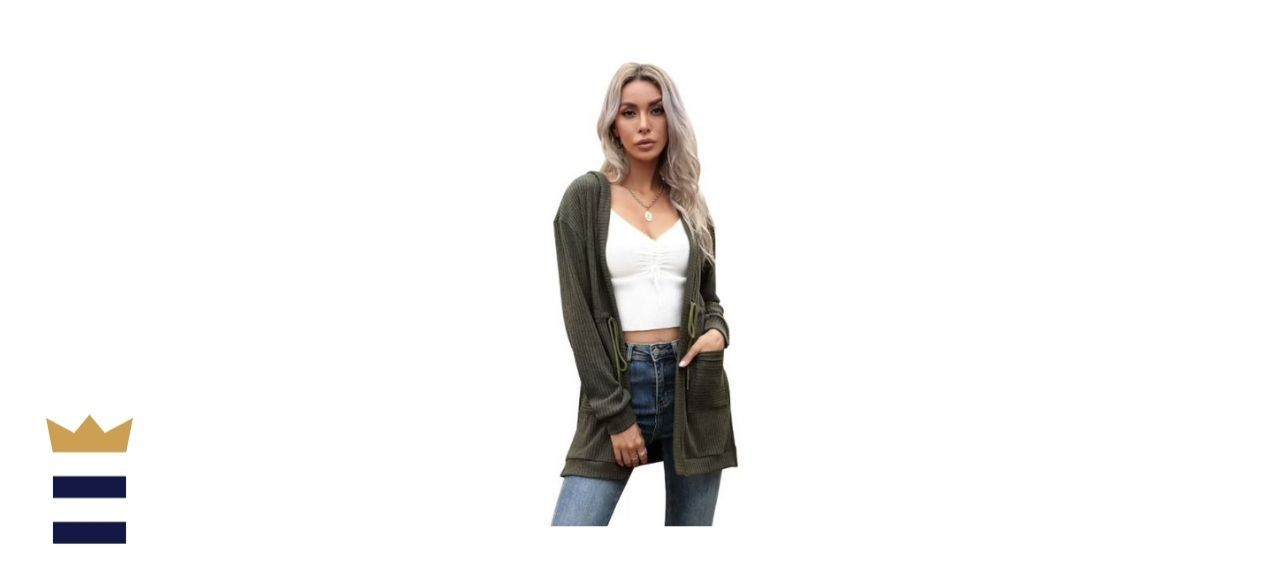 Autumn Solid Color Long Sleeve Lace Up Hooded Cardigan