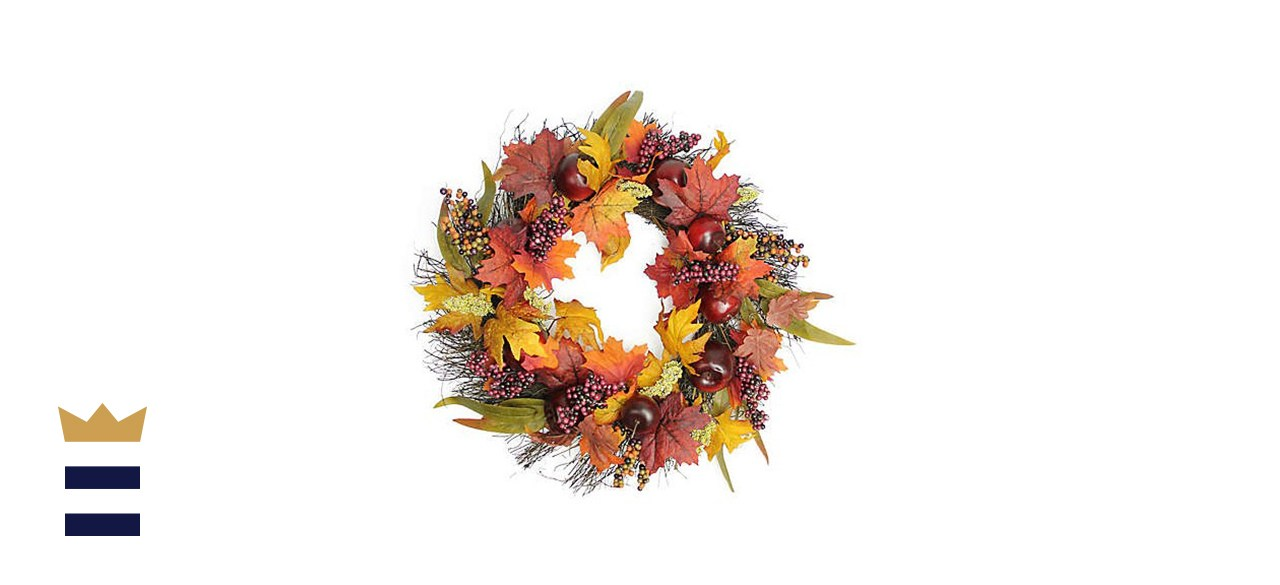22-Inch Artificial Apples, Berries & Leaves Wreath