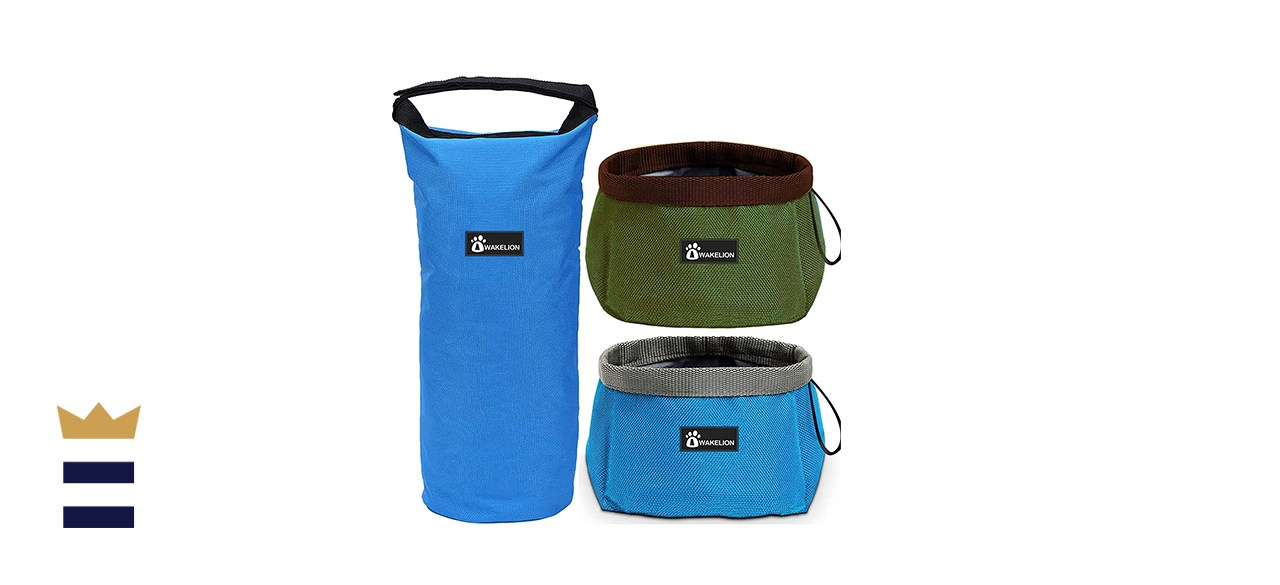 Awakelion Collapsible Portable Travel Dog Bowl Kit for Food and Water