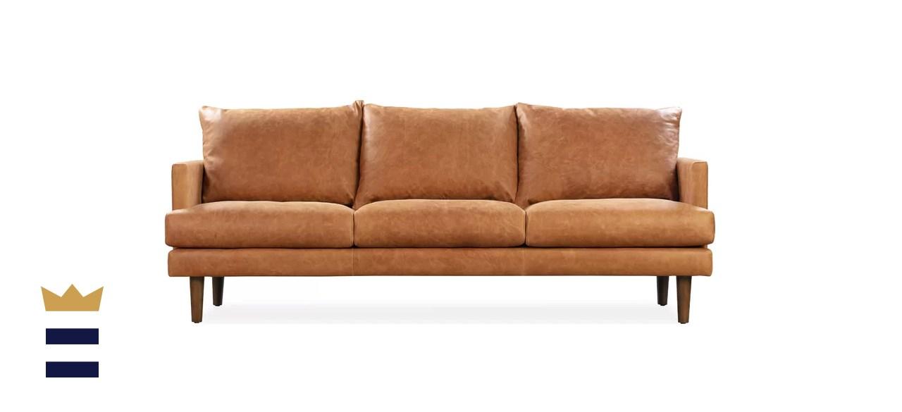 Joss & Main Axton 88-Inch Leather Sofa