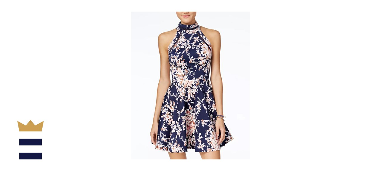 B Darlin Mock-Neck Fit & Flare Dress