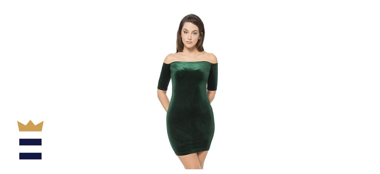 B.Smart Juniors' Off-Shoulder Bodycon Velvet Dress