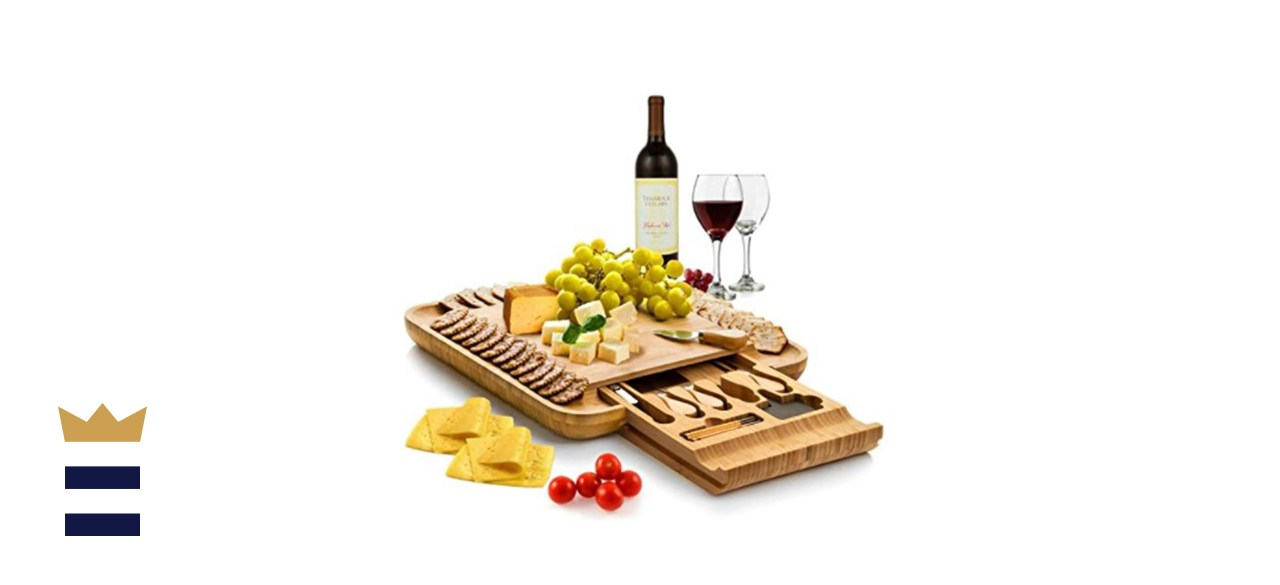 Bamboo Charcuterie Serving Board and Knife Set