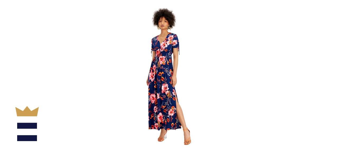 Bar III Floral-Print V-Neck Smocked-Waist Maxi Dress