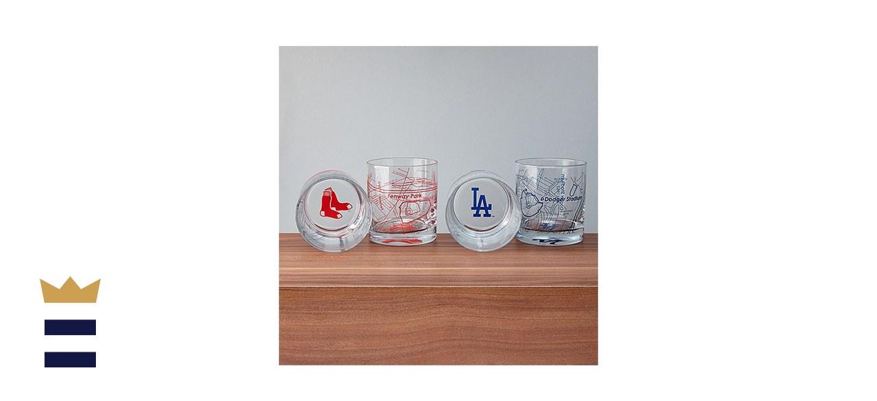 Baseball Park Map Glasses