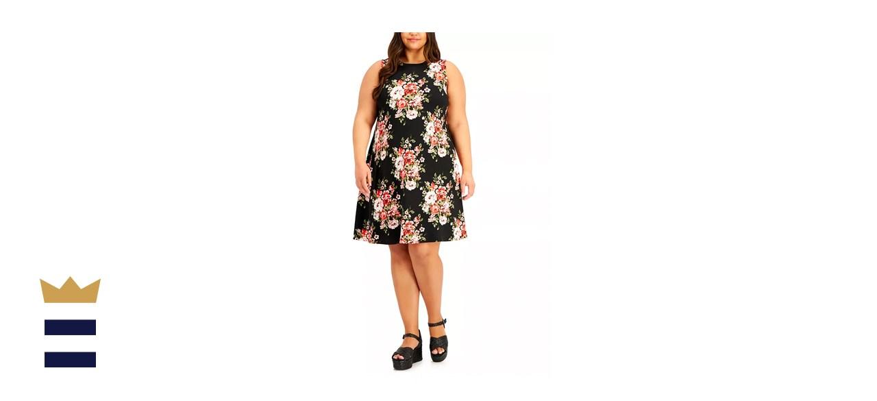 BCX Trendy Plus-Size Floral-Print A-Line Dress
