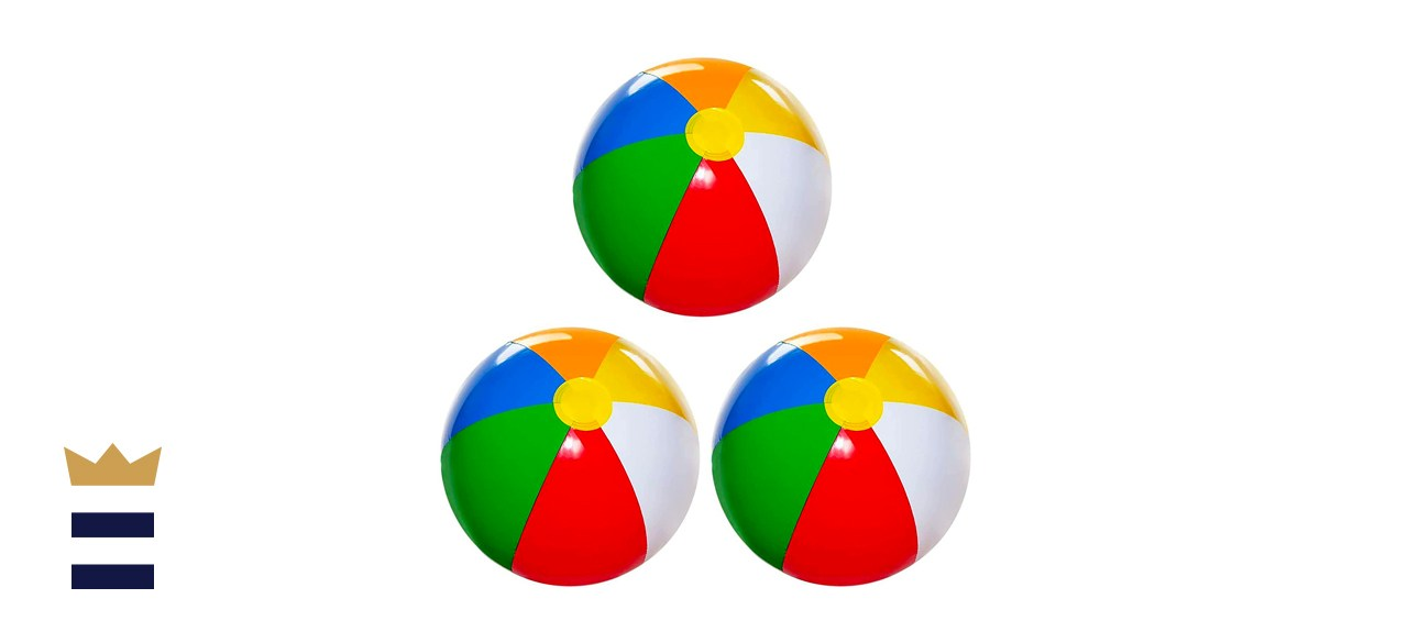 """Beach Ball [3 Pack] 20"""" Large Inflatable Beach Balls for Kids"""