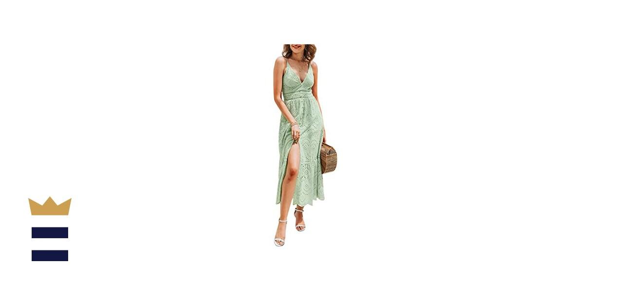 BerryGo Embroidery Maxi Dress
