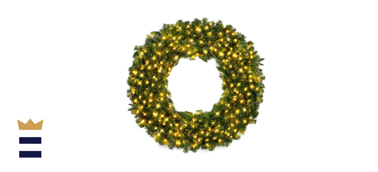 Best Choice Products Large Artificial Pre-Lit Fir Christmas Wreath