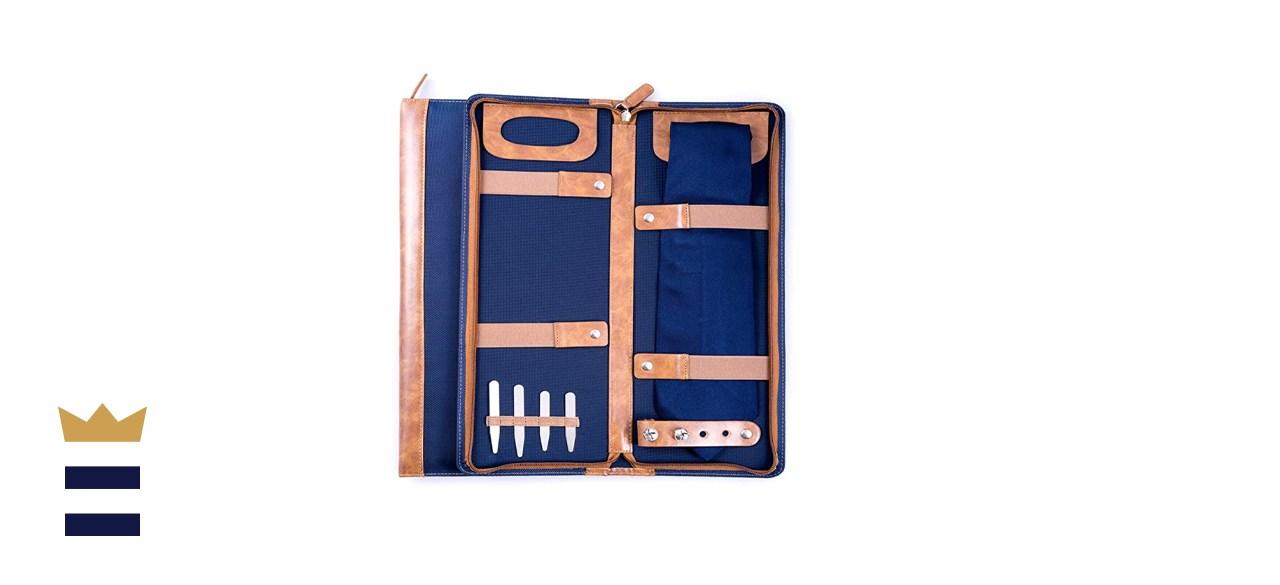 Bey-Berk Men's Blue Ballistic Nylon Travel Necktie Case