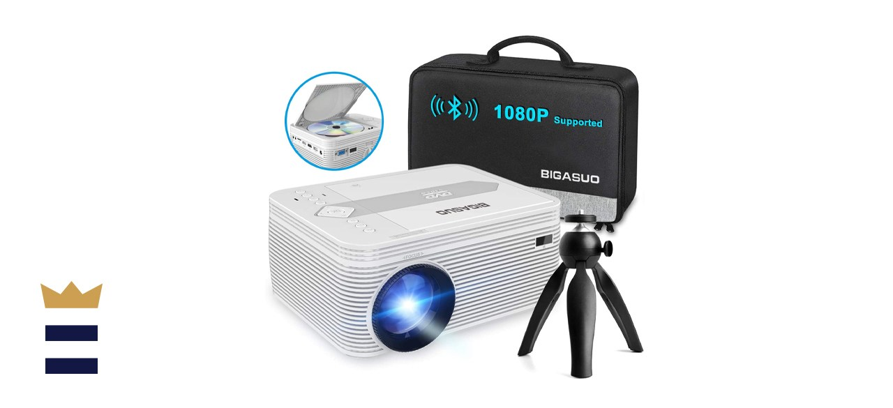 BIGASUO Full HD Bluetooth Projector with Built-in DVD Player