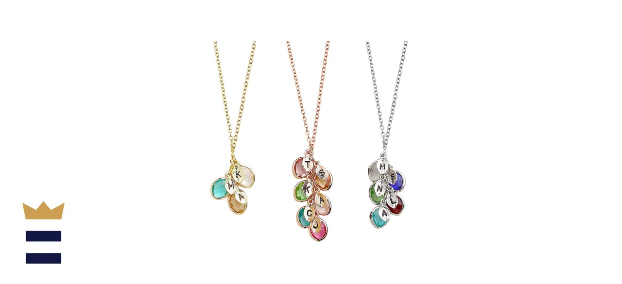 Birthstone Necklace Initial Necklace