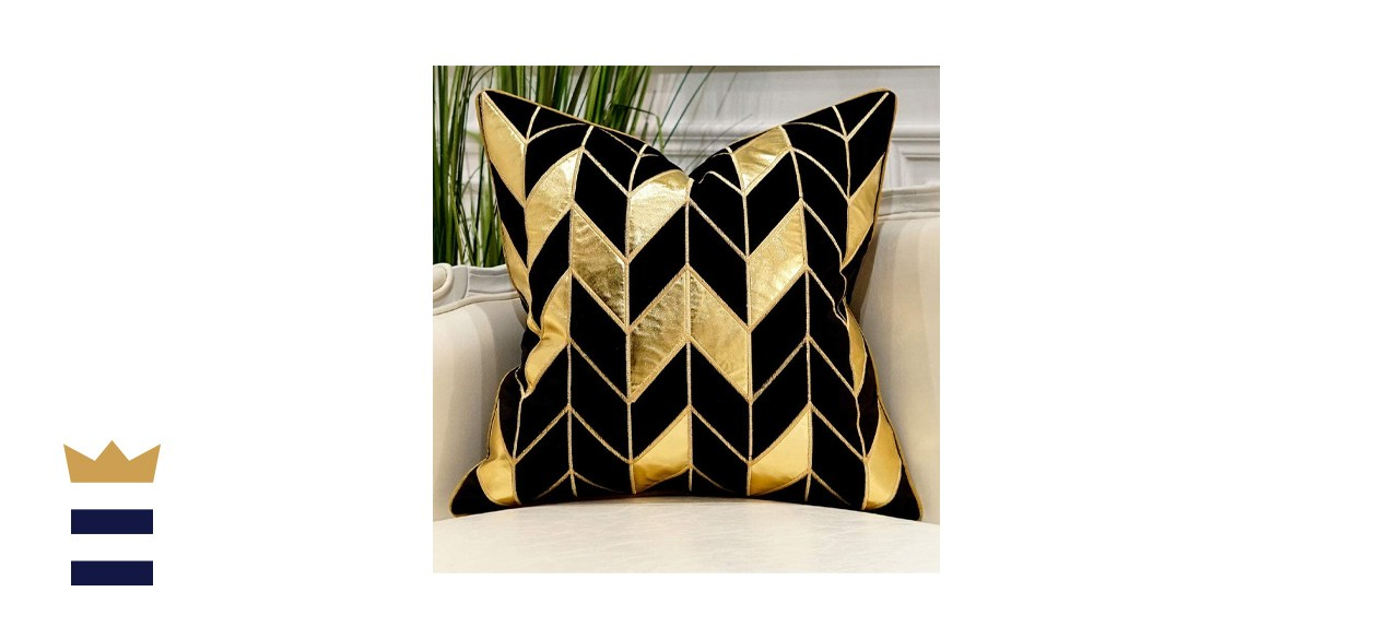 Black Gold Striped Throw Pillow Cover