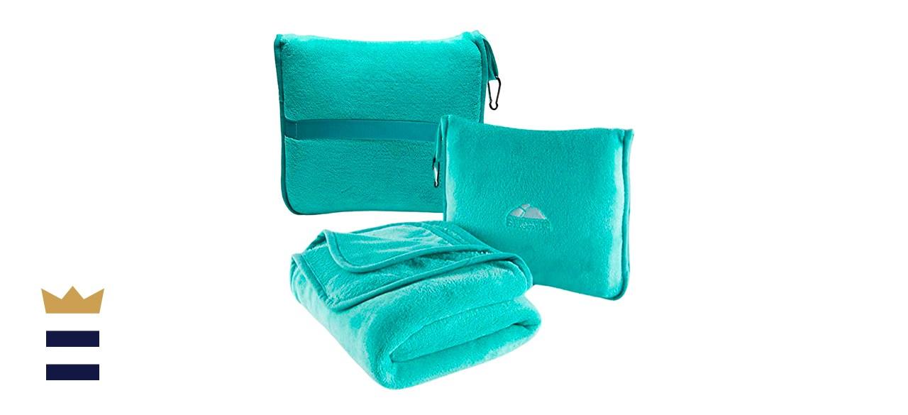 BlueHills Premium Soft Travel Blanket Pillow Airplane Blanket