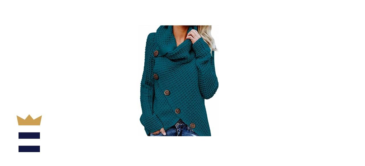 BLENCOT Women's Casual Cowl Neck Asymmetric Button Wrap Hem Pullover Sweater