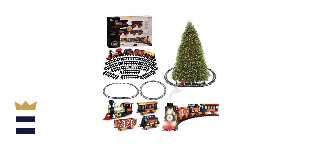 Blue Block Factory Christmas Tree Train Set