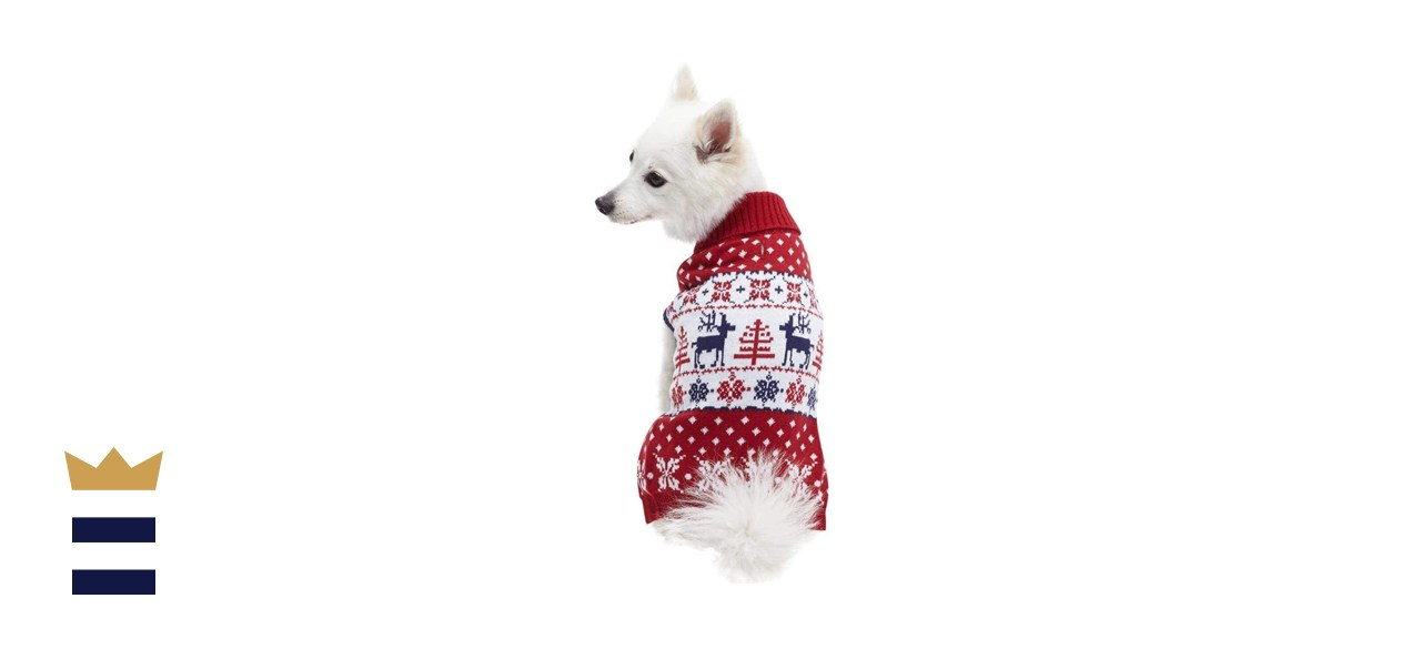 Blueberry Pet 3 Patterns Vintage Holiday Reindeer Dog Sweaters