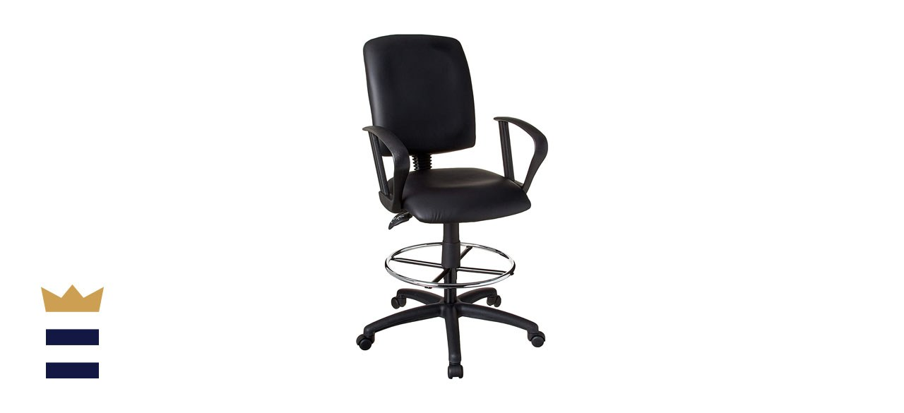 Boss Office Products Multi-Function LeatherPlus Drafting Stool