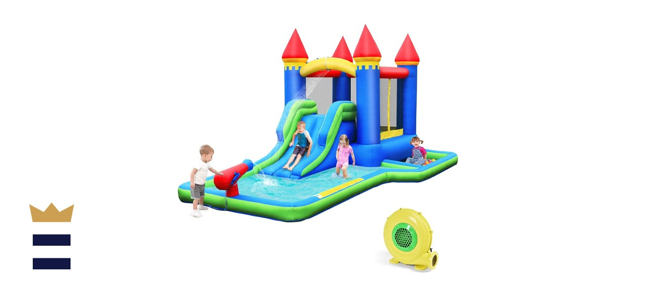 Bountech Inflatable Kids Castle Water Slide with Climbing Wall