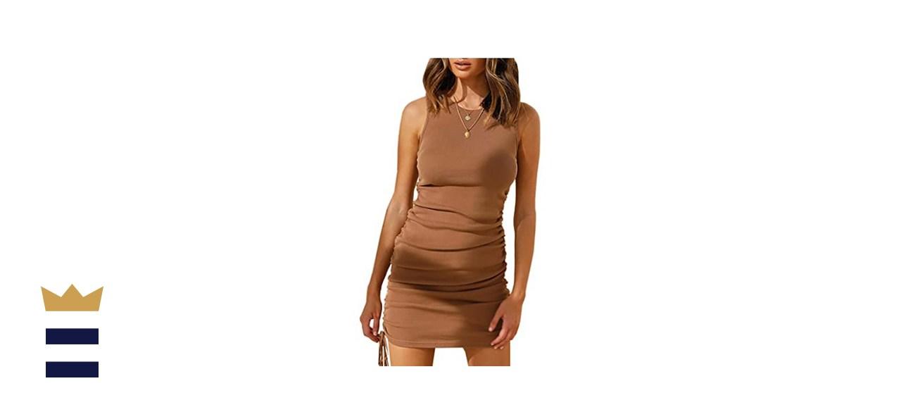 BTFBM Womens Sleeveless Bodycon Ruched Dress
